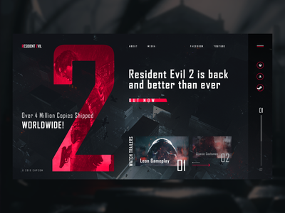 Resident Evil 2 (2019) product interaction design interface concept promo menu flat navigation design site clean ux web ui typography grid resident evil horror survival capcom