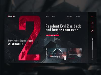 Resident Evil 2 (2019) product interaction design interface concept promo menu flat navigation design site clean ux web ui typography grid resident evil horror survival capcom