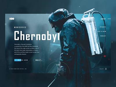 CHERNOBYL (HBO) web design website concept promo menu flat navigation design site clean web ux ui typography grid figma hbo chernobyl