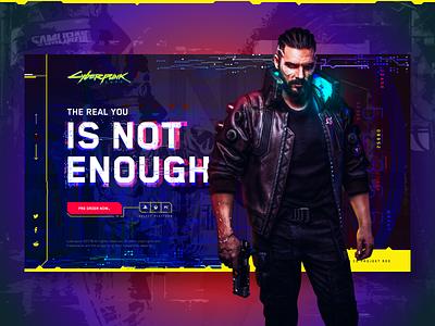 Cyberpunk 2077 future 2077 cyberpunk concept promo flat design site clean web ux ui typography grid
