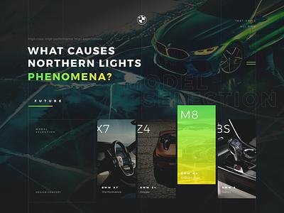 BMW | IN THE LIGHT OF NATURE navigation car bmw concept promo menu flat design site clean web ux ui typography grid