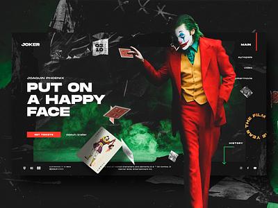 JOKER (2019) grid typography ux ui clean web design concept site movie joker