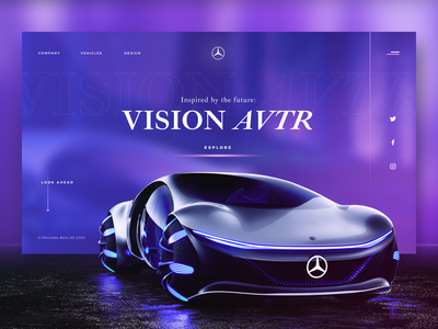 Mercedes-Benz VISION AVTR branding graphicdesign mercedes car concept design clean site typography web grid ui ux