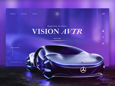 Mercedes-Benz VISION AVTR cars promo typography ux ui grid web typogaphy site clean design concept mercedes graphicdesign branding