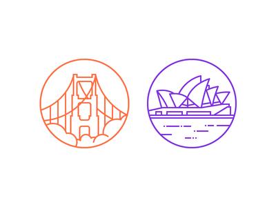 Office Locations san francisco sydney vector illustration icon