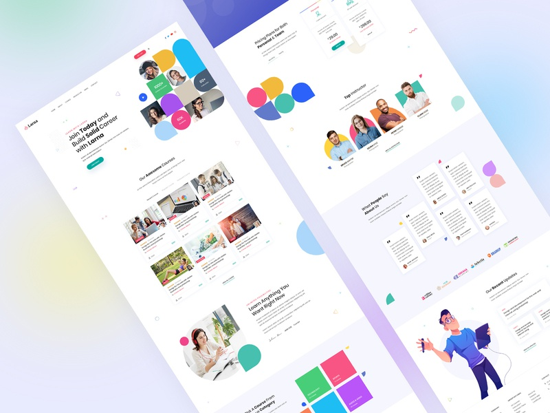 Larna Online Learning and Education Template Home Page online learning online education uiux design uiux uiuxdesign education uidesign larna