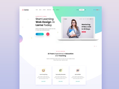Larna online learing and education template home page larna template education template online education udemy lynda elarning themeforest online learning lms psd download psd design psd template uiux uiux design uiuxdesign education larna uidesign