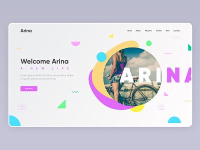 Arina - creative hero section concept agency startup creative design latest design trends latest concept design freepik webdesign hero pexels uiuxdesign uiux uidesign