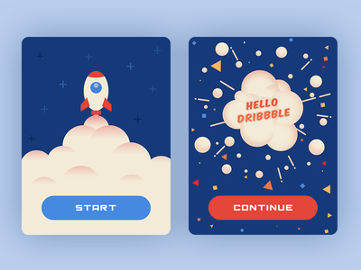 Hello Dribbbble explode blast boom rocket ui popup debut dribble hello