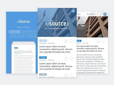 The Source: Newsletter Concept App app sketch categories tags flip news newsletter