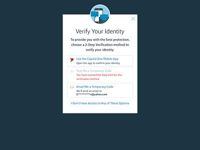 One Time Pin Verification otp verification modal web capital one