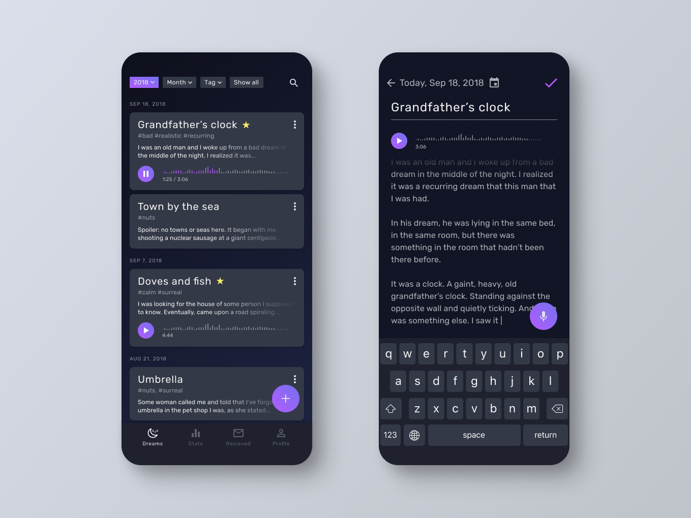 Dream Log App Concept ios add entry dark dreams log mobile ux ui