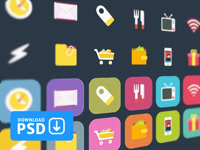 Free Set Colorful Ficons Icons +10 icon set free psd 10 ten icons download clock money mobile wifi