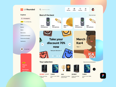 UI Rounded Dashboard Free - Figma rounded dashboad website ux uxdesign free freebie uidesign ui design uikit figma download