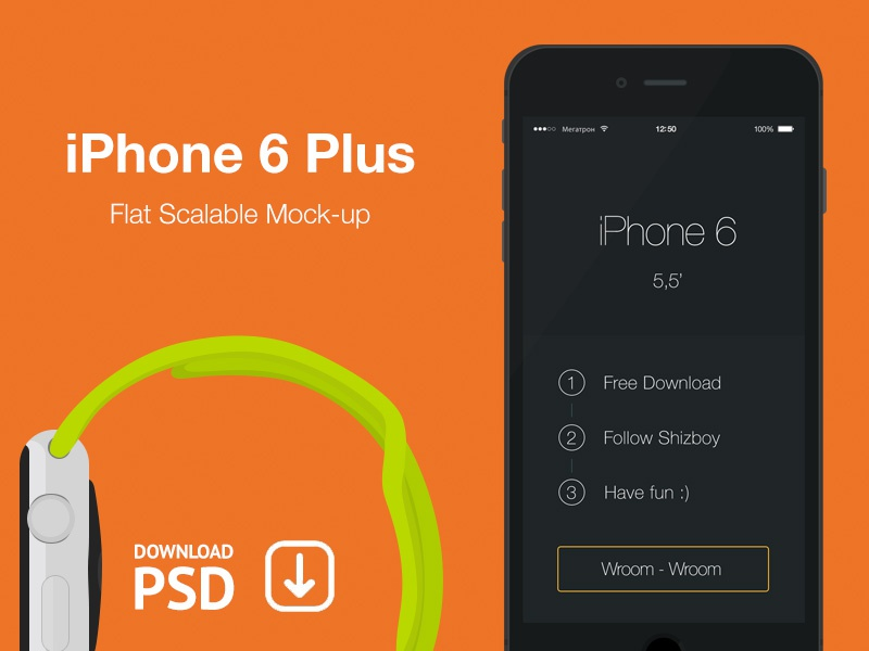iPhone 6 Plus - Free Psd Flat Mockup iphone psd free mockup iphone6 plus flat scalable black