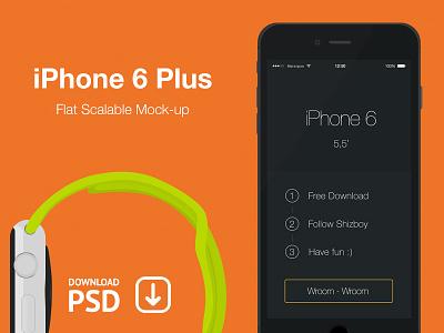 iPhone 6 Plus - Free Psd Flat Mockup iphone psd free mockup iphone6 plus flat scalable black