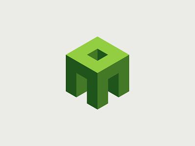 N - Cube pixel build gaming minecraft brick block n