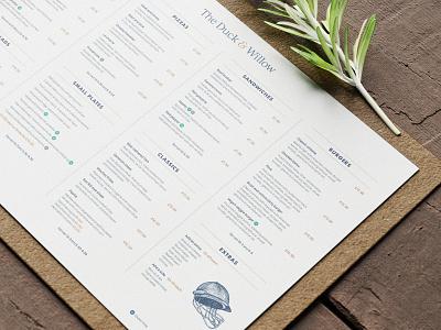 The Duck & Willow - Menu Design typography branding bristol pub design menu design