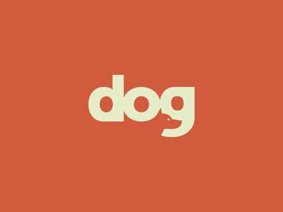 Dog wordmark mark logo space negative dog