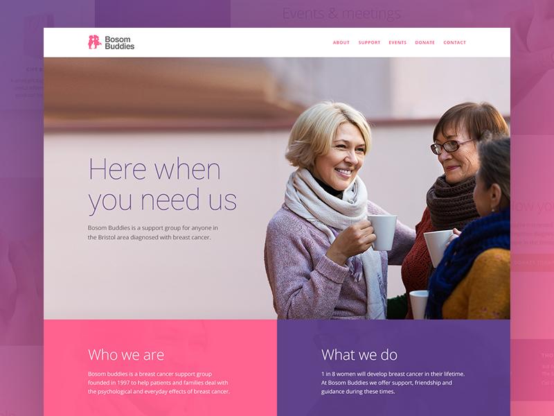 Bosom Buddies bristol anchor single one page website buddies bosom charity support cancer breast
