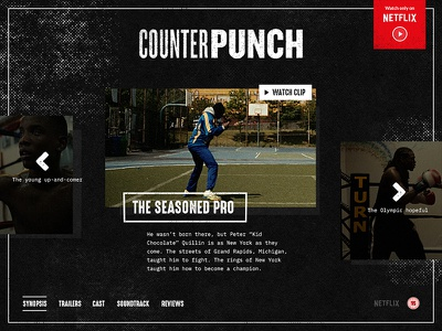 CounterPunch ~ Web concept netflix distressed texture film concept documentary web fight mma boxing punch counter