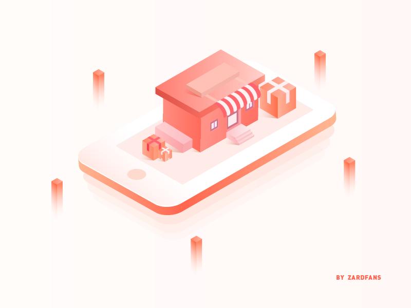 Handheld store 2.5d illustration