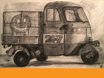 Piaggio Ape funmobile drawing study