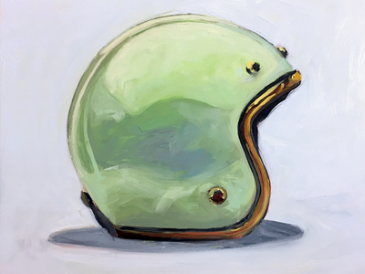 Lime Bucket motorcyle helmet study painting