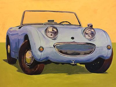 Austin Healey Sprite work in progress sports car painting