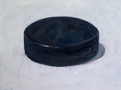 The Biscuit puck hockey painting