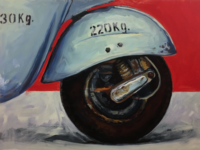Rubber Meets Road Wip car piaggio ape front tire painting wip