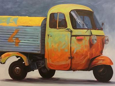 Piaggio Ape - Bobby Orr wip oil painting vespa piaggio ape