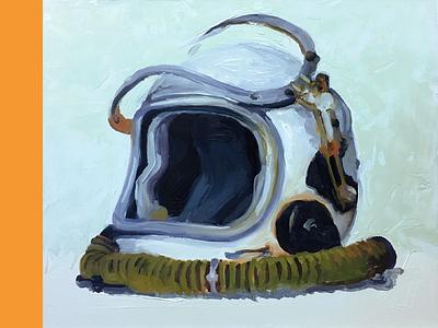 Cosmonaut Brain Bucket Study 2 astronaut study painting space helmet