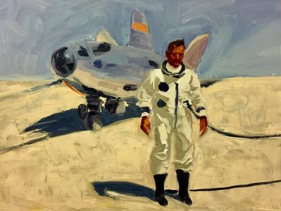 Study of Bill Dana post flight HL-10 aircraft study painting