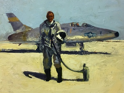 Study of Bill Dana near an F-100 airplane study painting
