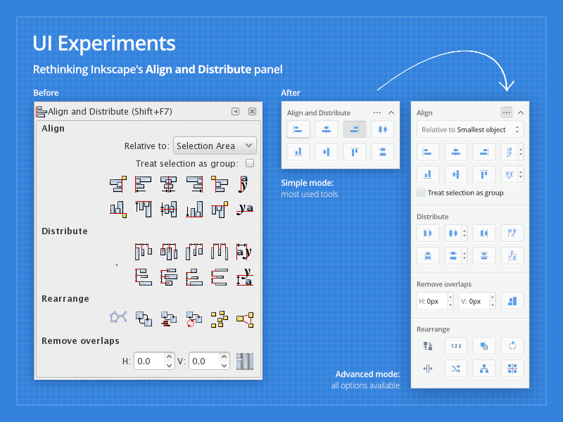 UI Experiments 01: Inkscape Align Panel grid icon desktop design panel align vector ui inkscape