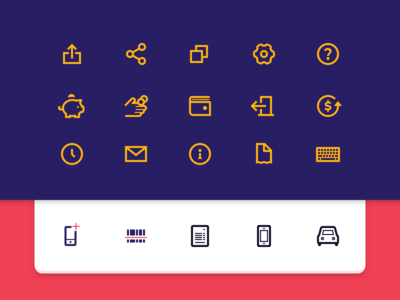 Some bold icons for a digital wallet app