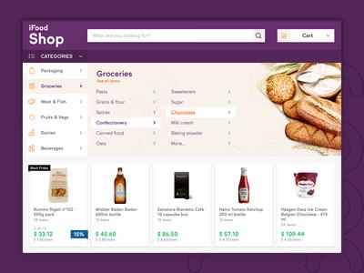 iFood Shop eCommerce menu