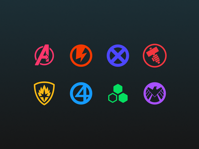 Neon dark mode for Marvel teams guardians of the galaxy fantastic four x-men future foundation shield hammer thunderbolts avengers dark mode marvel icon 2d art vector affinity designer icon design iconography icon set