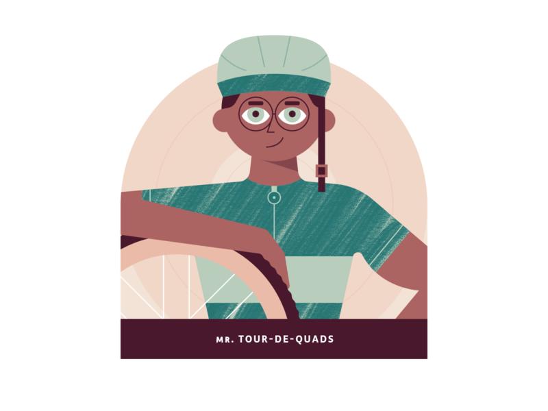 Mr. Tour-de-Quads illustration peddle biker glasses helmet tire male brushes earthtones green minimal workout clean design clean character vectorart vector texutre bike fitness
