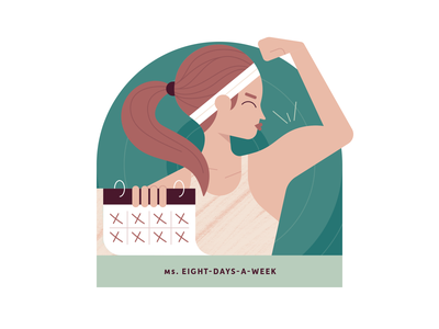 Ms. Eight-Days-a-Week kiss muscle athleisure sweatband calendar brushes earthtones green minimal workout clean design clean character art vector illustration texture ponytail woman