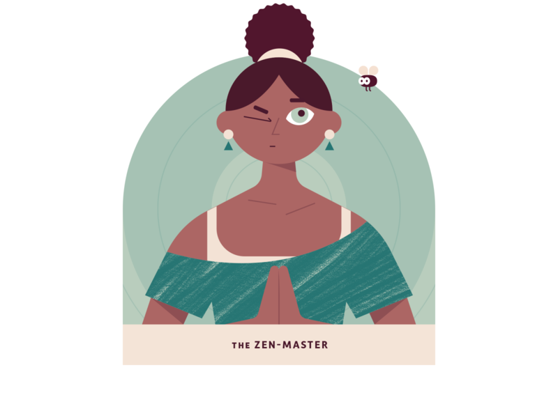 The Zen-Master hairstyle focus athleisure meditation yoga fly texture brushes earthtones green minimal workout design clean character art vector woman illustration texture woman