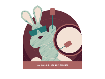 The Long-Distance-Runner battery funny joke rabbit sunglasses drums bunny brushes earthtones green minimal workout design clean character art vector illustration texture fitness