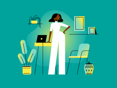 Werkin scene character personality confident woman illustration illustrator vector minimal simple fashion style glow gradient plant scandal remote work work computer home office
