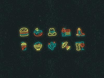 Neon Icon Set theme glow bright snacks cactus boot drink food western cowboy burger dark mode colorful neon icon art texture design vector illustration