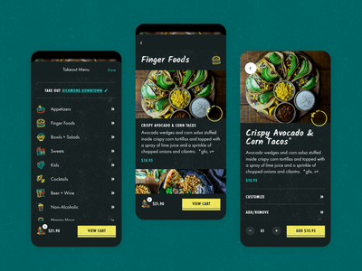 Neon Cowboy Eatery App interface application takeout bright icons product ux mobile theme dark mode tacos restaurant delivery food neon design texture illustration ios app