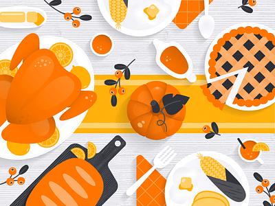 Orange Foods for Thanksgiving shadow white orange bright top table feast citrus pattern food pumpkin pie turkey thanksgiving illustration gradient texture vector design art