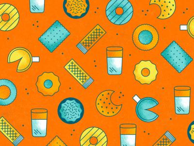 National Cookie Day orange bright pattern food pie illustration gradient texture vector design art cookie sprinkles geometric milk grit outline rough dots simple