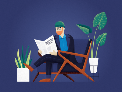 A Big Moment reading chair modern light plants blue moody beard character vector newspaper glasses business texture gradient illustration design shading wood jeans