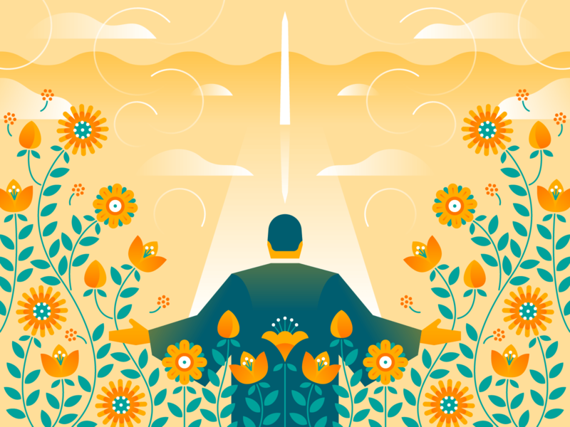 Martin Luther King, Jr bright remembrance leader dream illustrator illustration scene equality freedom america vines mall symmetry design vector gradient monument flowers martin luther king jr mlk